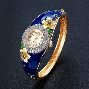 Fashionable Spring Floral Bangle Watch Crystals